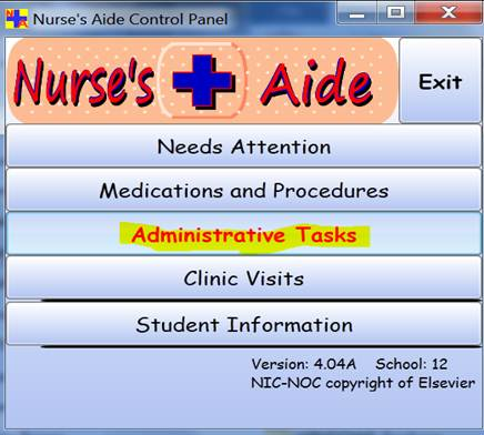 Nurse's Aide Control Panel form'