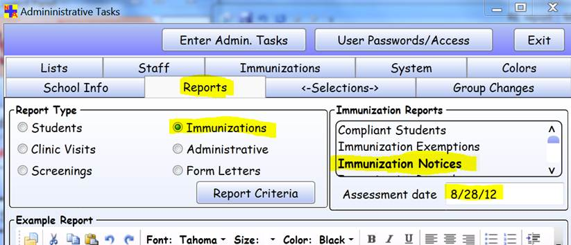Administrative Tasks > Reports tab