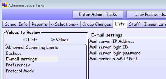 Administrative Tasks > Lists tab