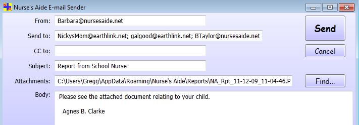 Nurse's Aide E-mail Sender form