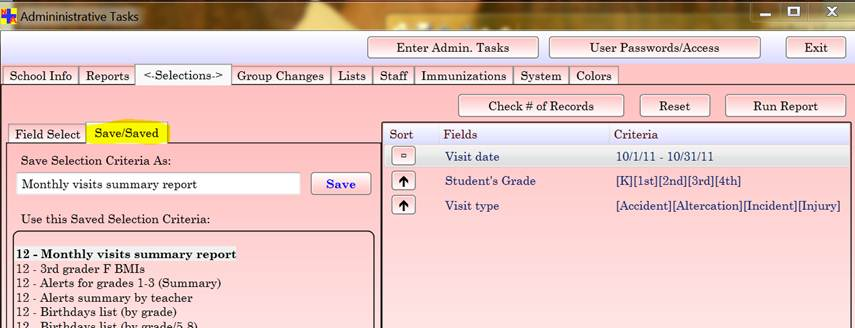 Administrative Tasks > Selections tab (2)