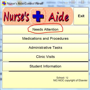 Nurse's Aide Control Panel form